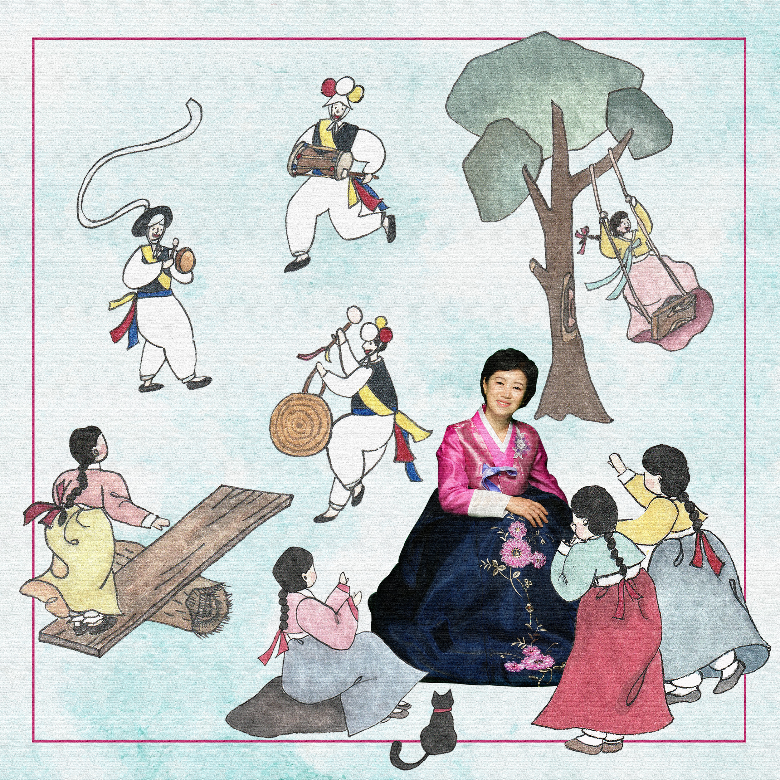 Heejeong sits wearing a traditional Korean dress. She is surrounded by illustrations of 8 people in traditional Korean clothes playing games and music.