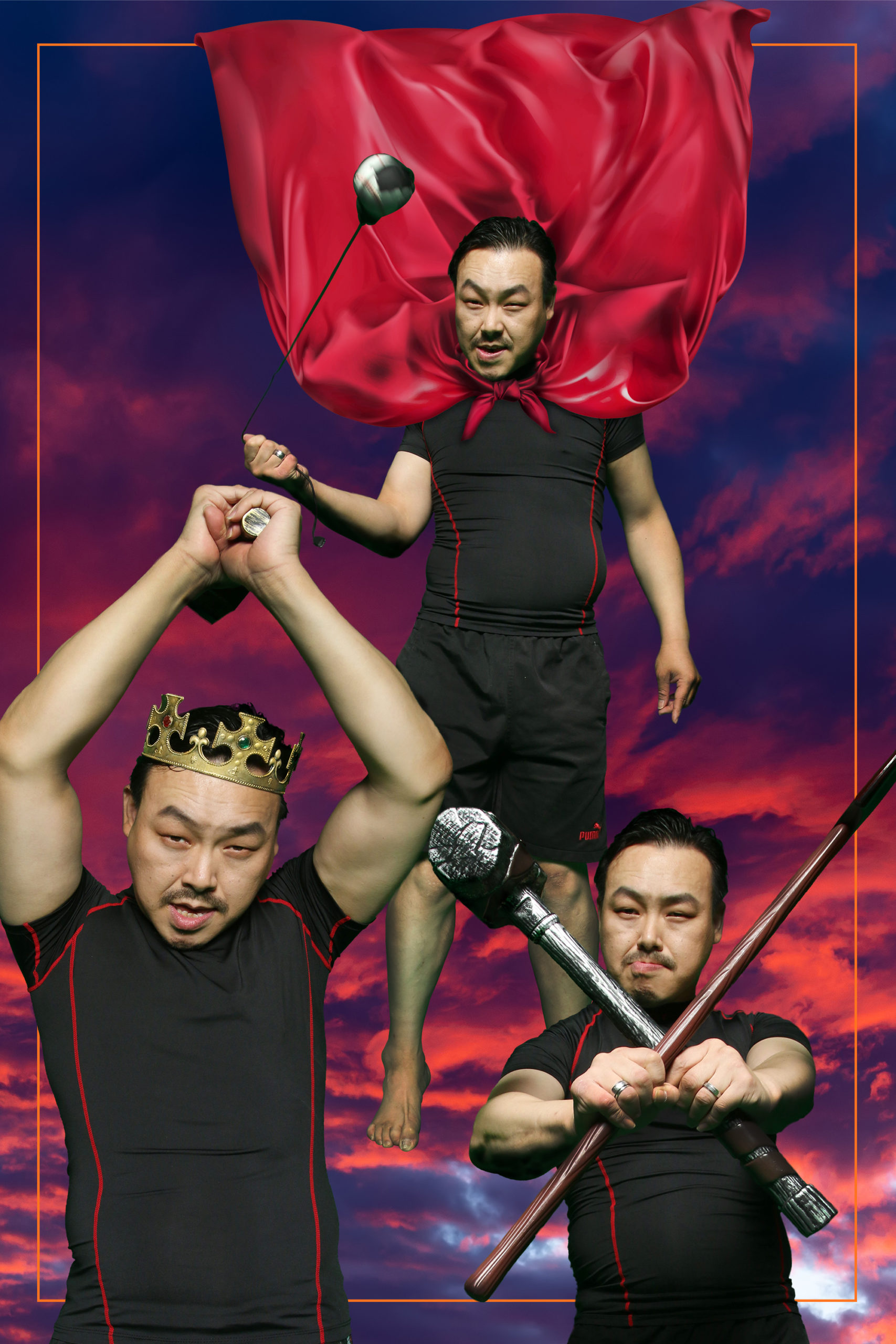 3 photos of Jongmin wearing a red cape and crown holding ancient weapons against a red and purple cloudy sky