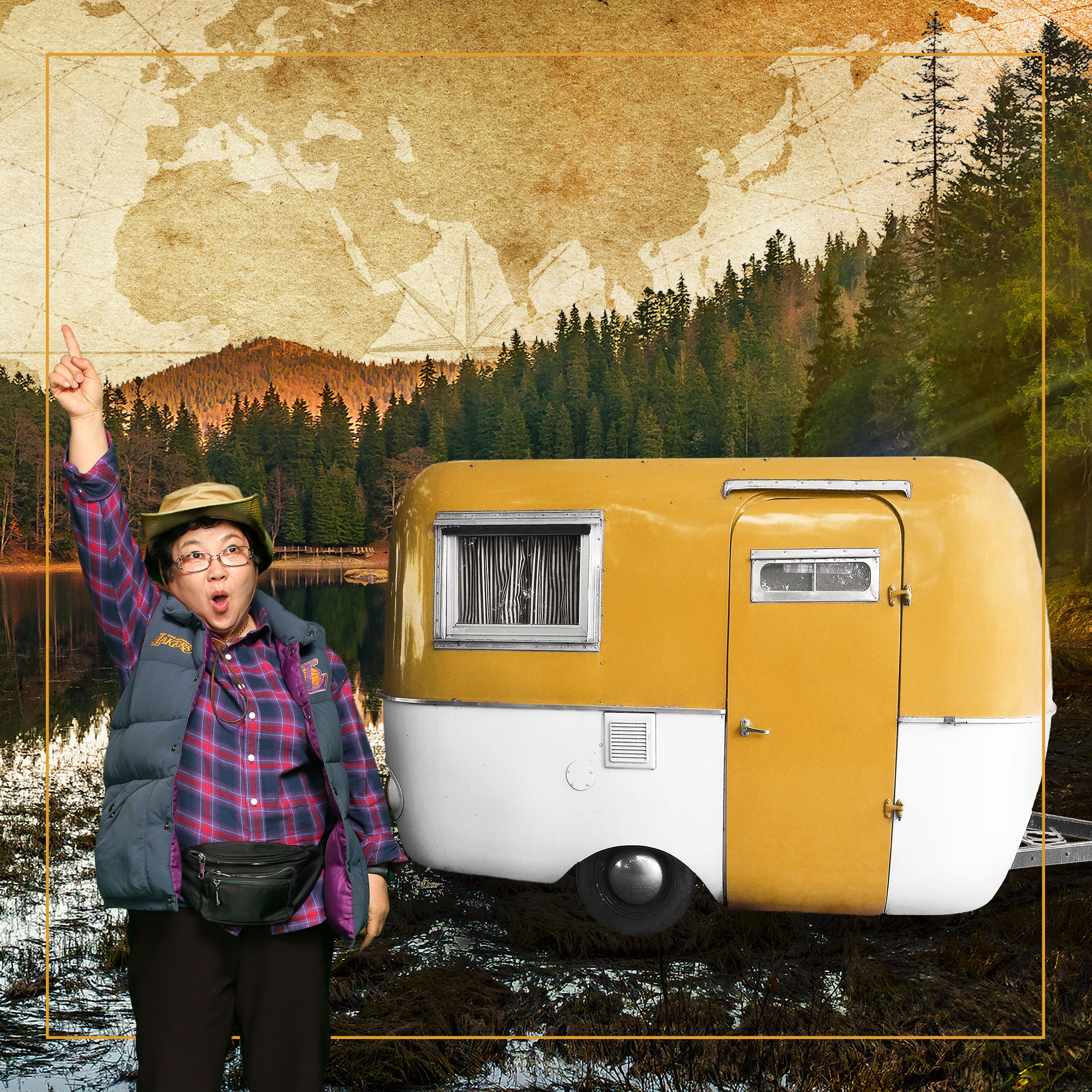 Jeongsun standing next to a vintage caravan, pointing to the sky, with ranges of pine trees in the distance