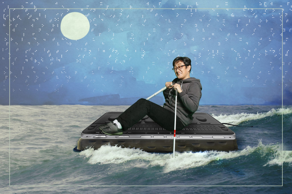 Collage of Miae on a braille device, floating on the ocean, using walking sticks as oars. A moon and braille symbols in the background.