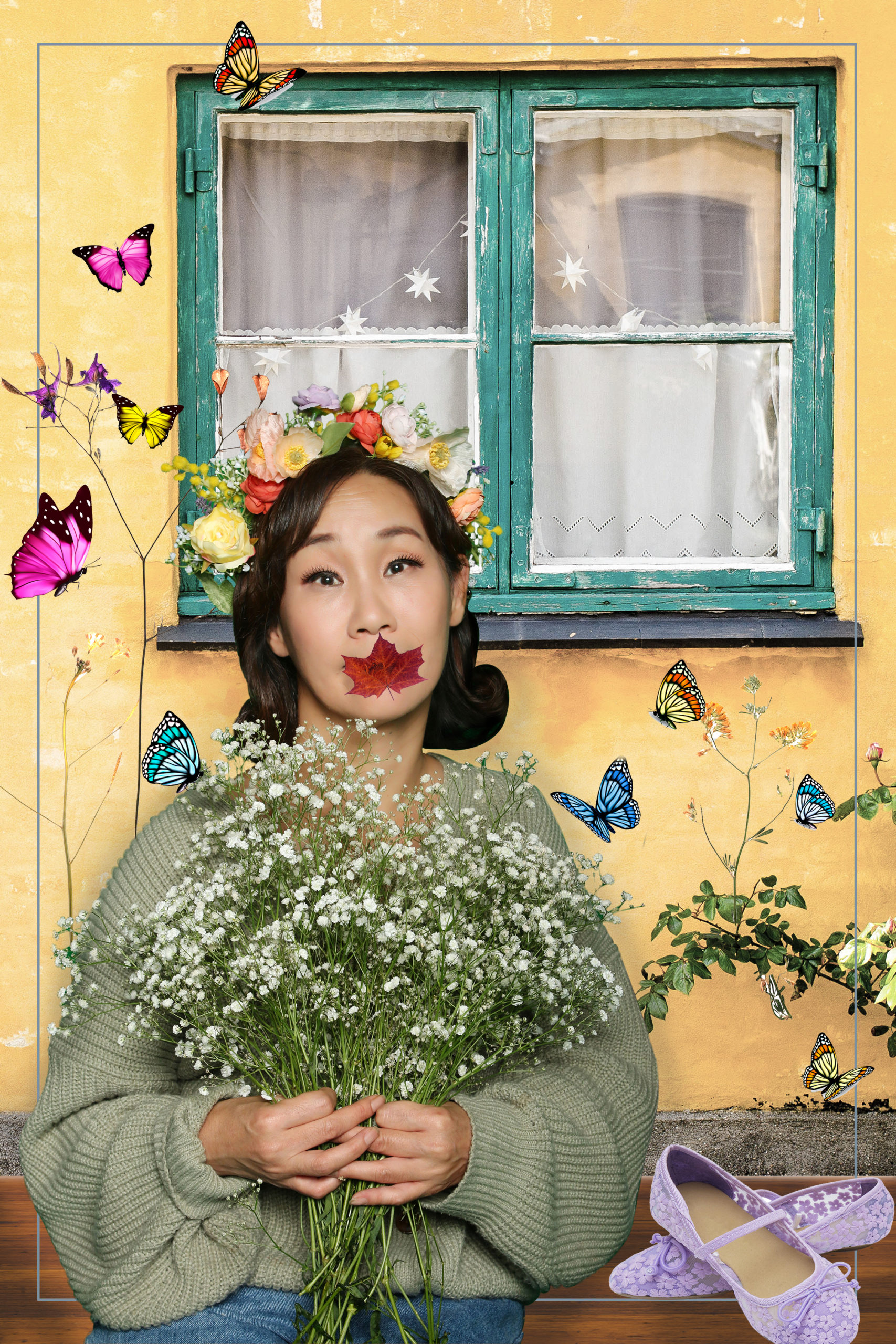 Portait of Sujin holding a bunch of flowers surrounded by flowers and butterflies
